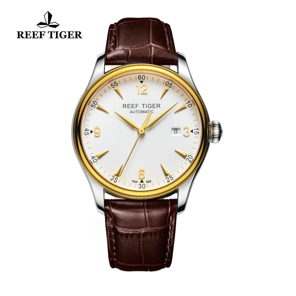 Reef Tiger Business Mens Yellow Gold Steel White Dial Leather Strap Watch with Date RGA823