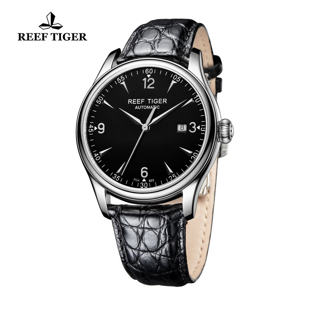 Reef Tiger Business Mens Steel Black Dial Alligator Strap Watch with Date RGA823