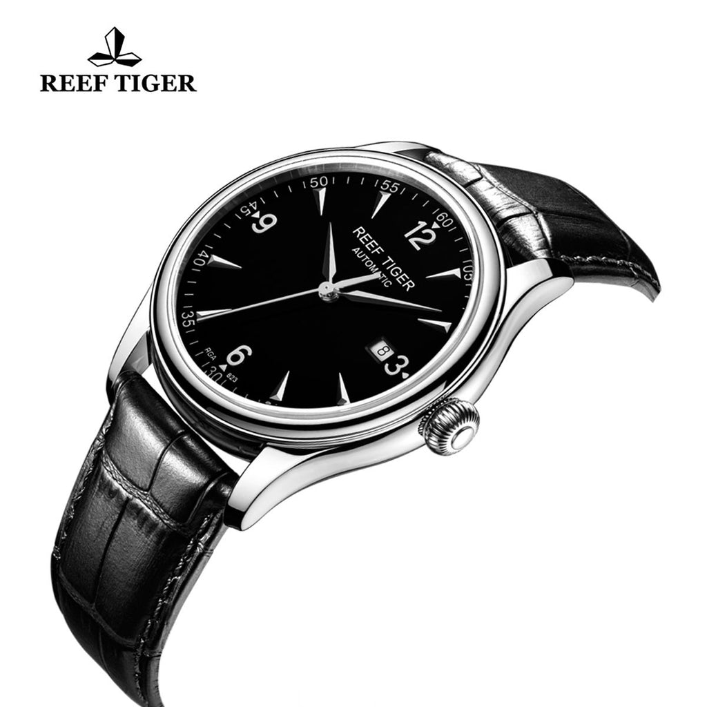 Reef Tiger Business Mens Steel Black Dial Leather Strap Watch with Date RGA823