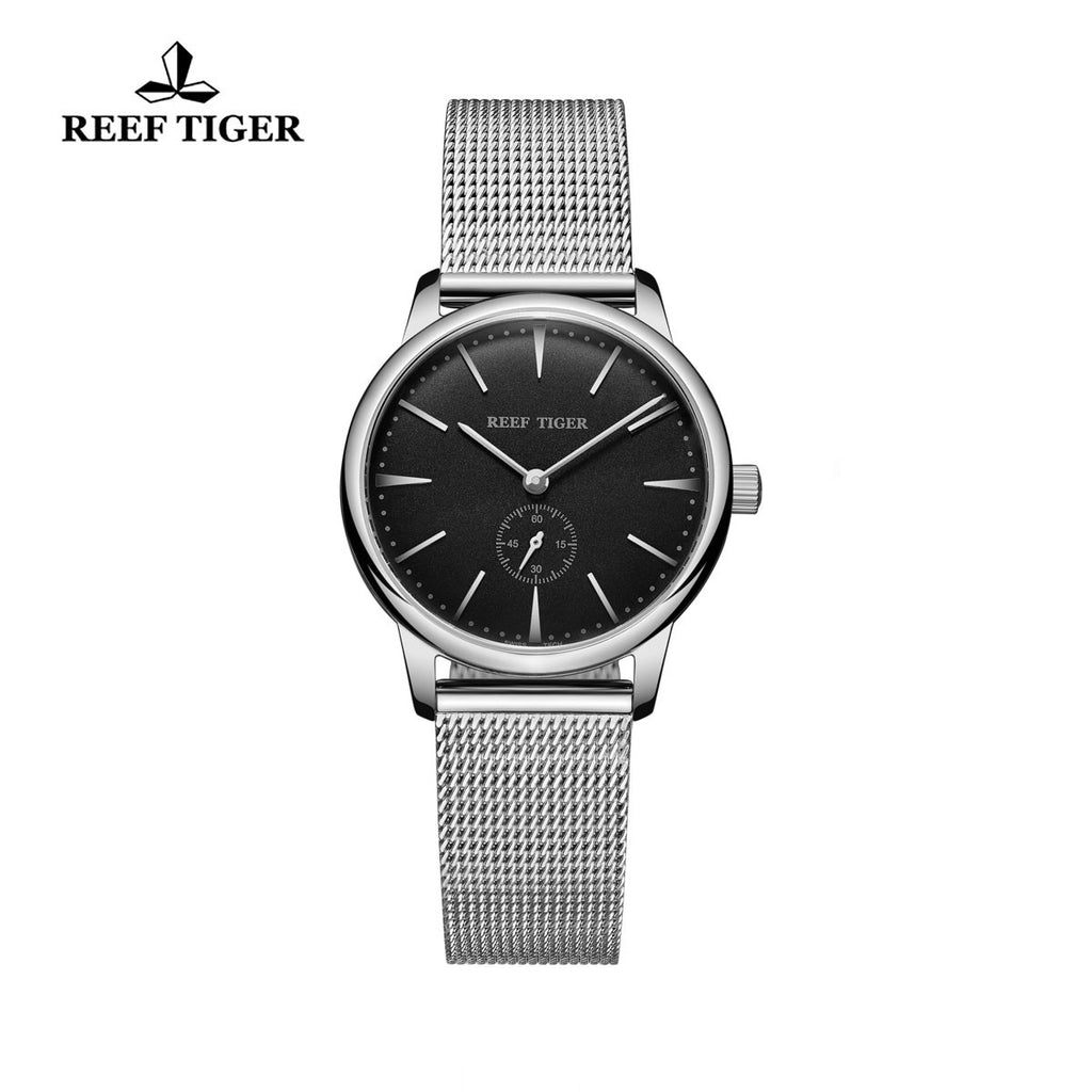 Reef Tiger Couple Watches Ultra Thin Stainless Steel Black Dial Womens Watch RGA820