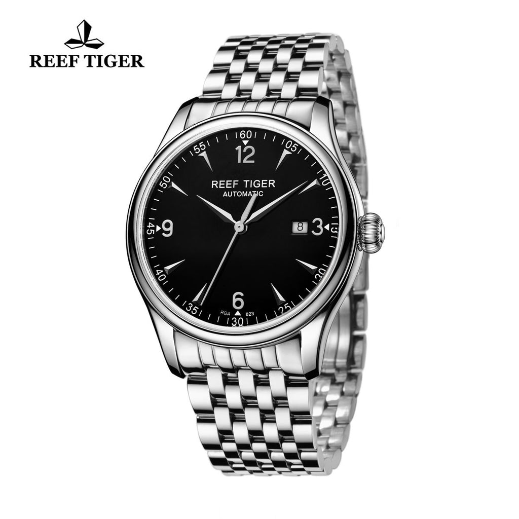 Reef Tiger Mens Business Steel Black Dial Sapphire Crystal Watch with Date RGA823