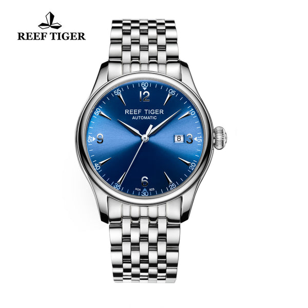 Reef Tiger Mens Business Steel Blue Dial Sapphire Crystal Watch with Date RGA823