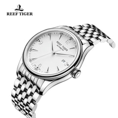 Reef Tiger Mens Business Steel White Dial Sapphire Crystal Watch with Date RGA823