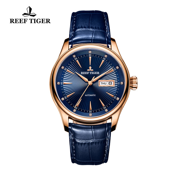 Reef Tiger Rose Gold Blue Dial Leather Strap Watch Date Day RGA8232