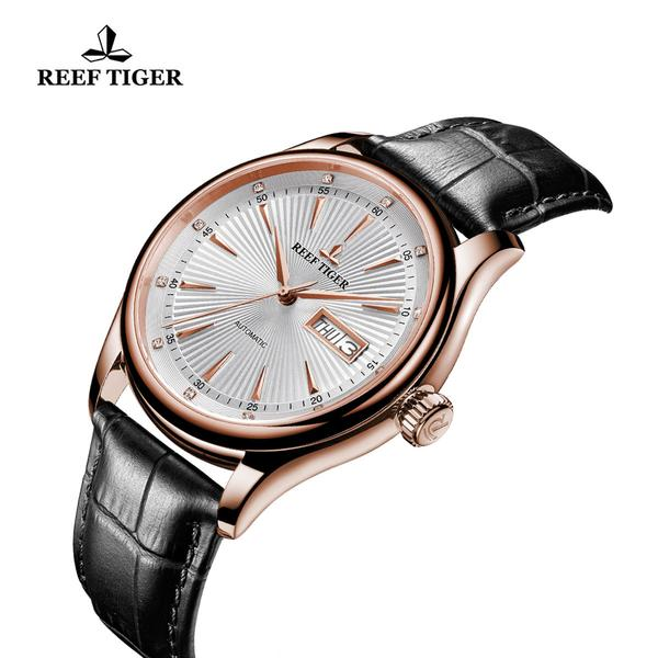 Reef Tiger Rose Gold White Dial Leather Strap Watch Date Day RGA8232