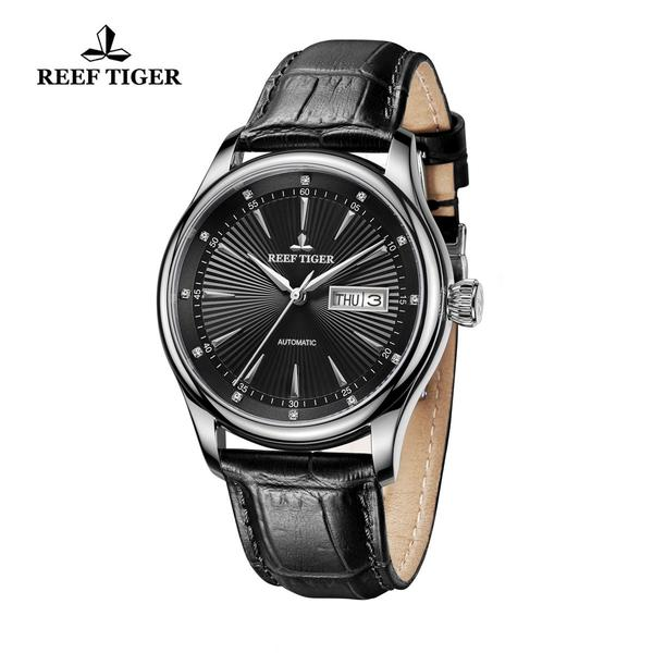 Reef Tiger Business Steel Black Dial Leather Strap Watch RGA8232