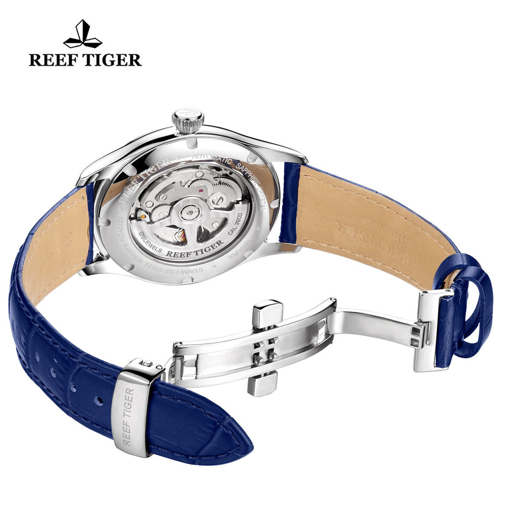 Reef Tiger Business Steel Blue Dial Leather Strap Watch RGA8232
