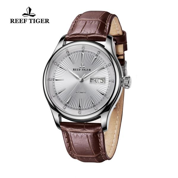Reef Tiger Business Steel White Dial Leather Strap Watch RGA8232