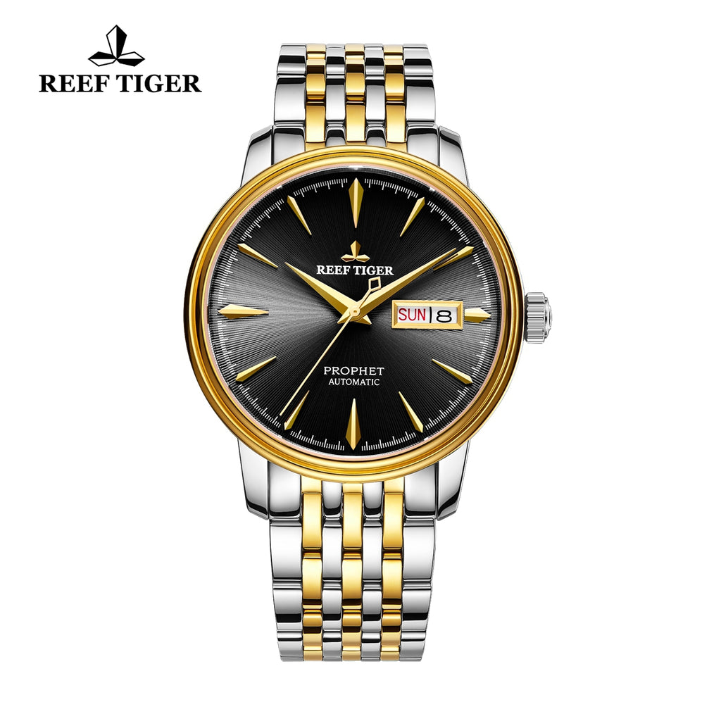 Reef Tiger Luxury Dress Mens Yellow Gold Steel Black Dial Watch with Date RGA8236