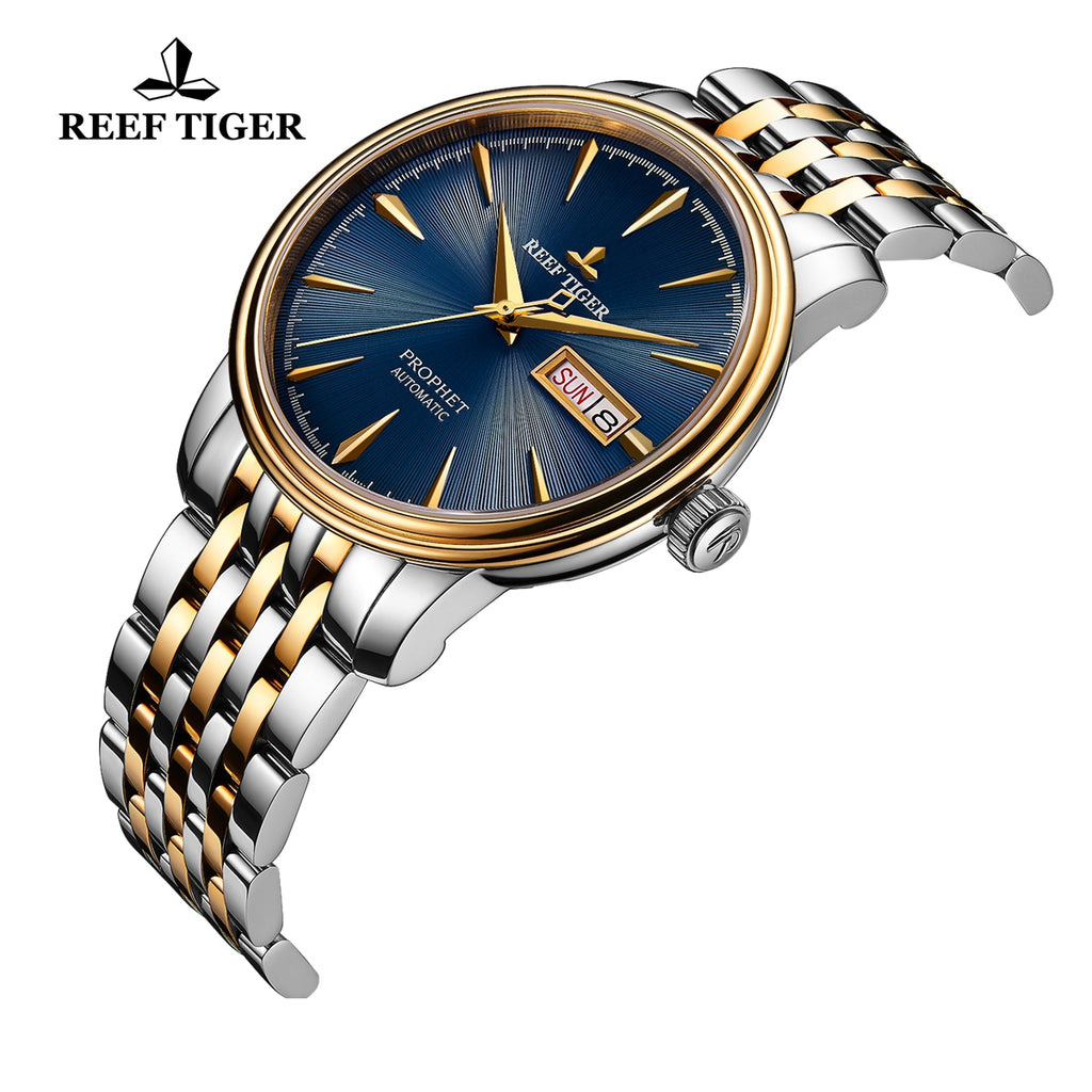 Reef Tiger Luxury Dress Mens Yellow Gold Steel Blue Dial Watch with Date RGA8236