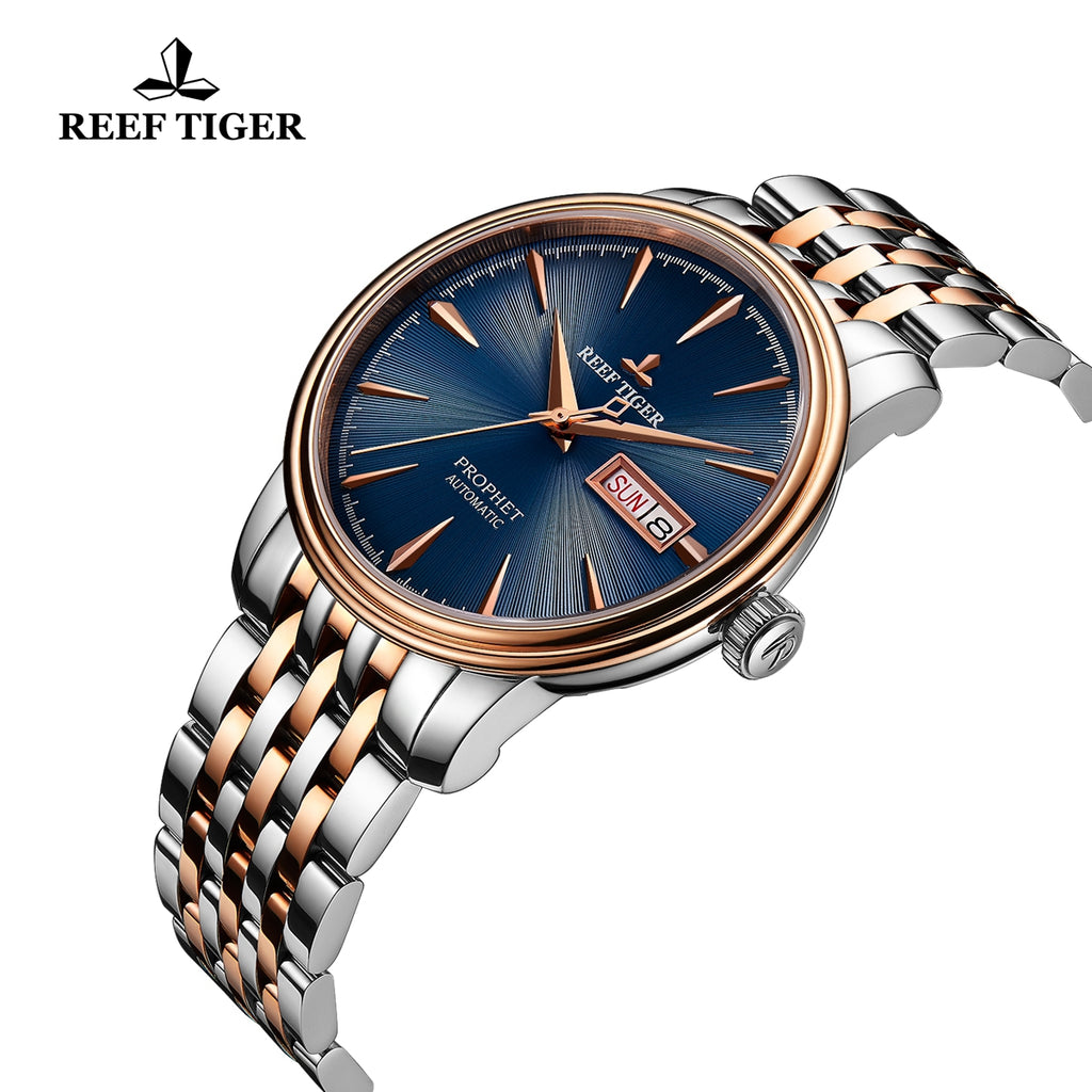 Reef Tiger Fashion Dress Mens Rose Gold Steel Blue Dial Watch with Date RGA8236