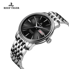 Reef Tiger Fashion Dress Mens Steel Black Dial Watch with Date RGA8236