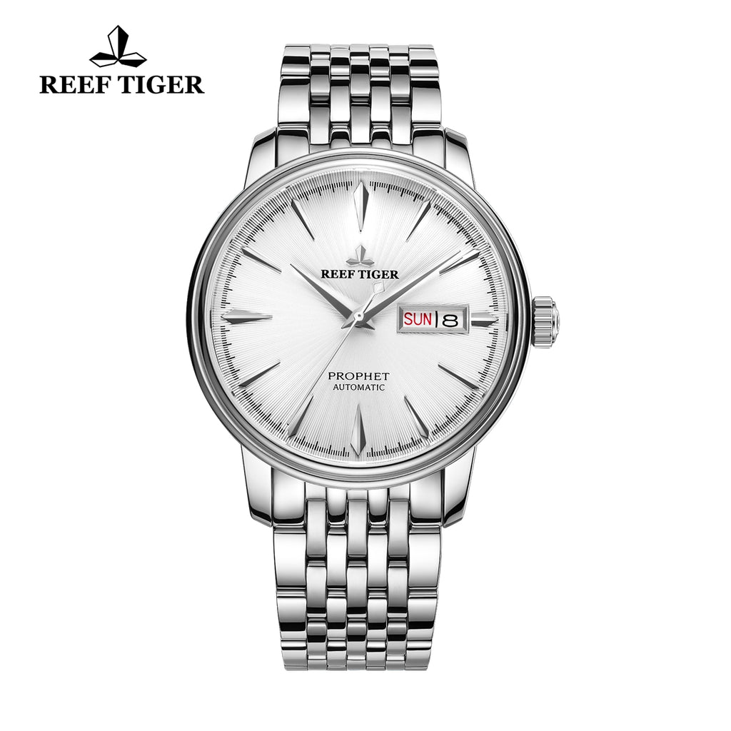 Reef Tiger Fashion Dress Mens Steel White Dial Watch with Date RGA8236