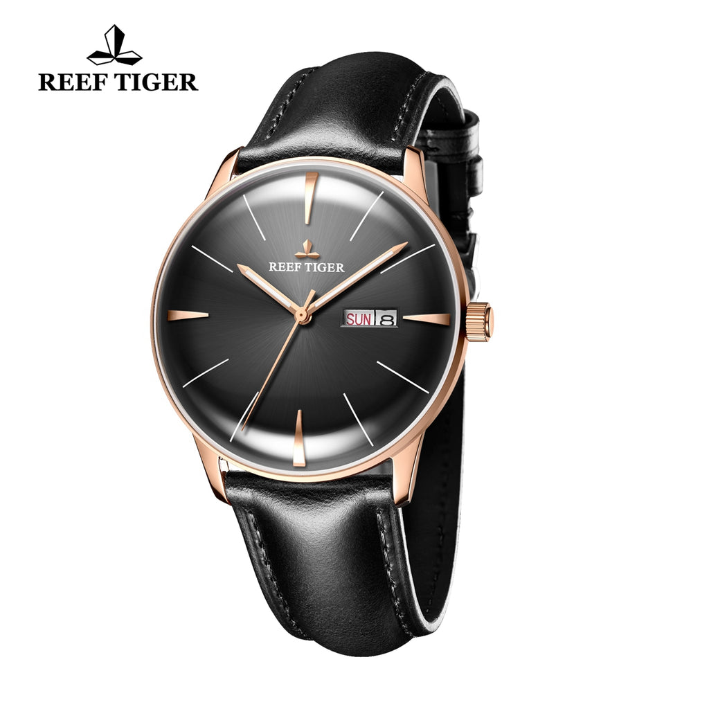 Reef Tiger Classic Heritor Luxury Rose Gold Business Mens Black Dial Leather Strap Watch RGA8238