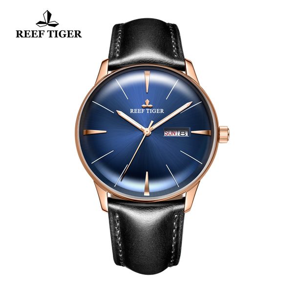 Reef Tiger Classic Heritor Casual Rose Gold Mens Watch Blue Dial Leather Strap Watch RGA8238-PLBH