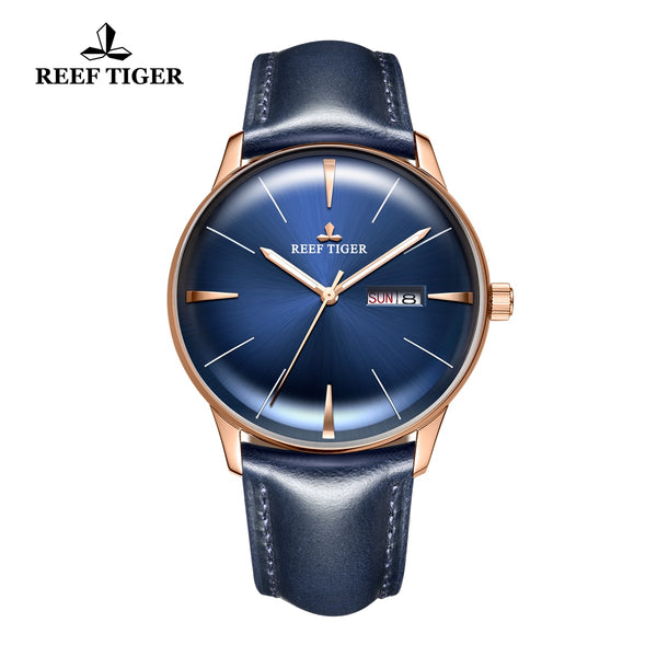 Reef Tiger Classic Heritor Luxury Business Mens Blue Leather Strap Watch For Men RGA8238