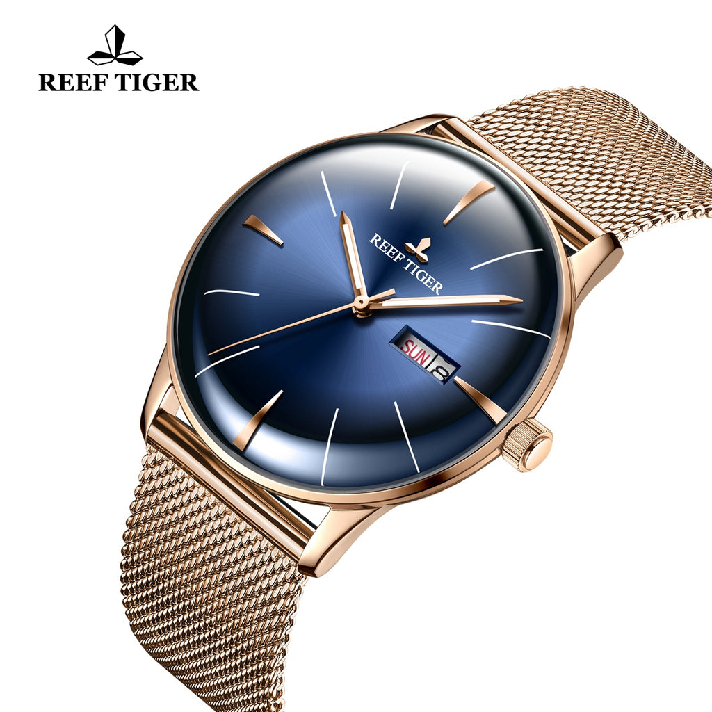 Reef Tiger Classic Heritor Luxury Rose Gold Business Mens Blue Dial Watches RGA8238