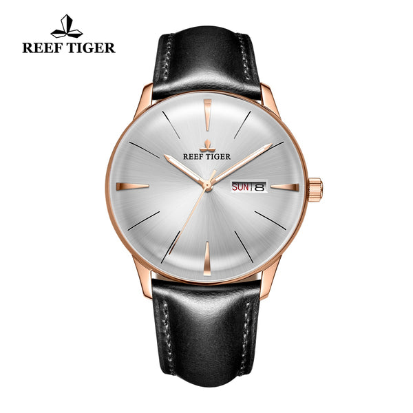 Reef Tiger Classic Heritor Business Rose Gold Mens Watch White Dial Leather Strap Watch RGA8238