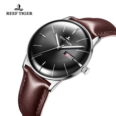 Reef Tiger Classic Heritor Mens Business Fashion Steel Black Dial Leather Strap Watch RGA8238