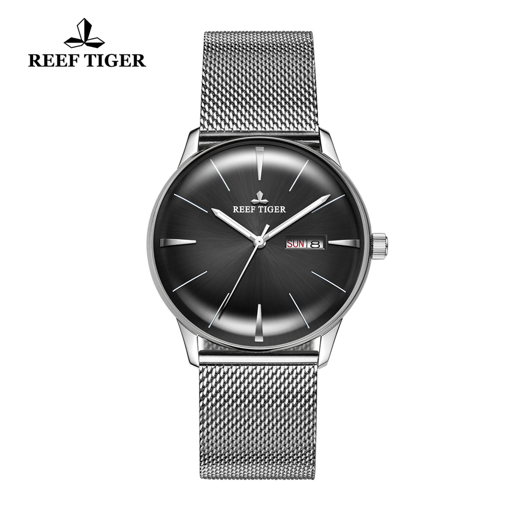 Reef Tiger Classic Heritor Fashion Mens Business Black Dial Steel Watches RGA8238