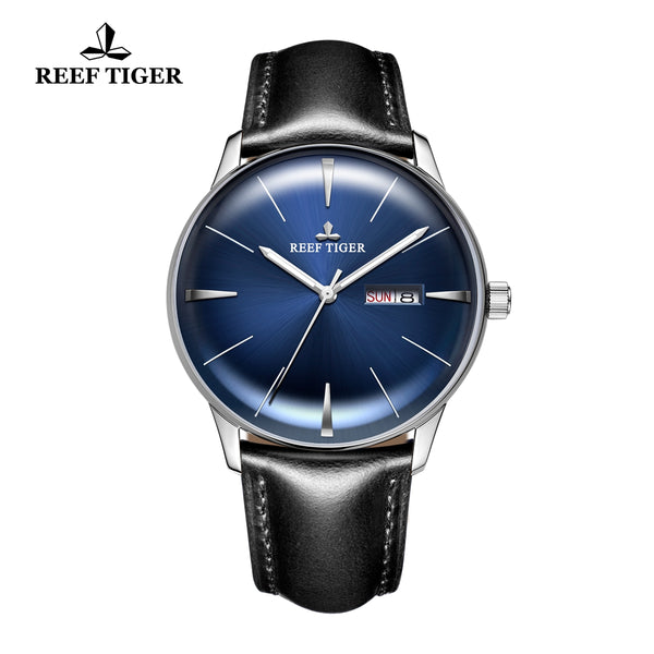 Reef Tiger Classic Heritor Casual Mens Steel Blue Dial Leather Strap Watch RGA8238-YLBH