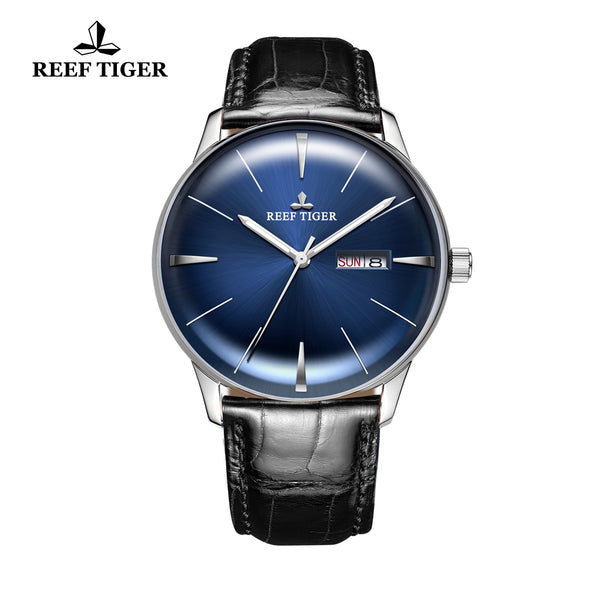 Reef Tiger Classic Heritor Mens Steel Fashion Business Blue Dial Leather Strap Watch RGA8238