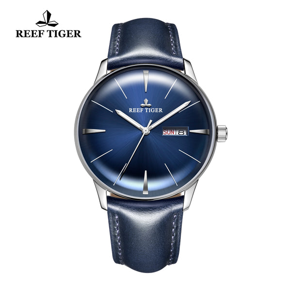 Reef Tiger Classic Heritor Fashion Mens Watch Business Steel Leather Strap Blue Dial Watch RGA8238