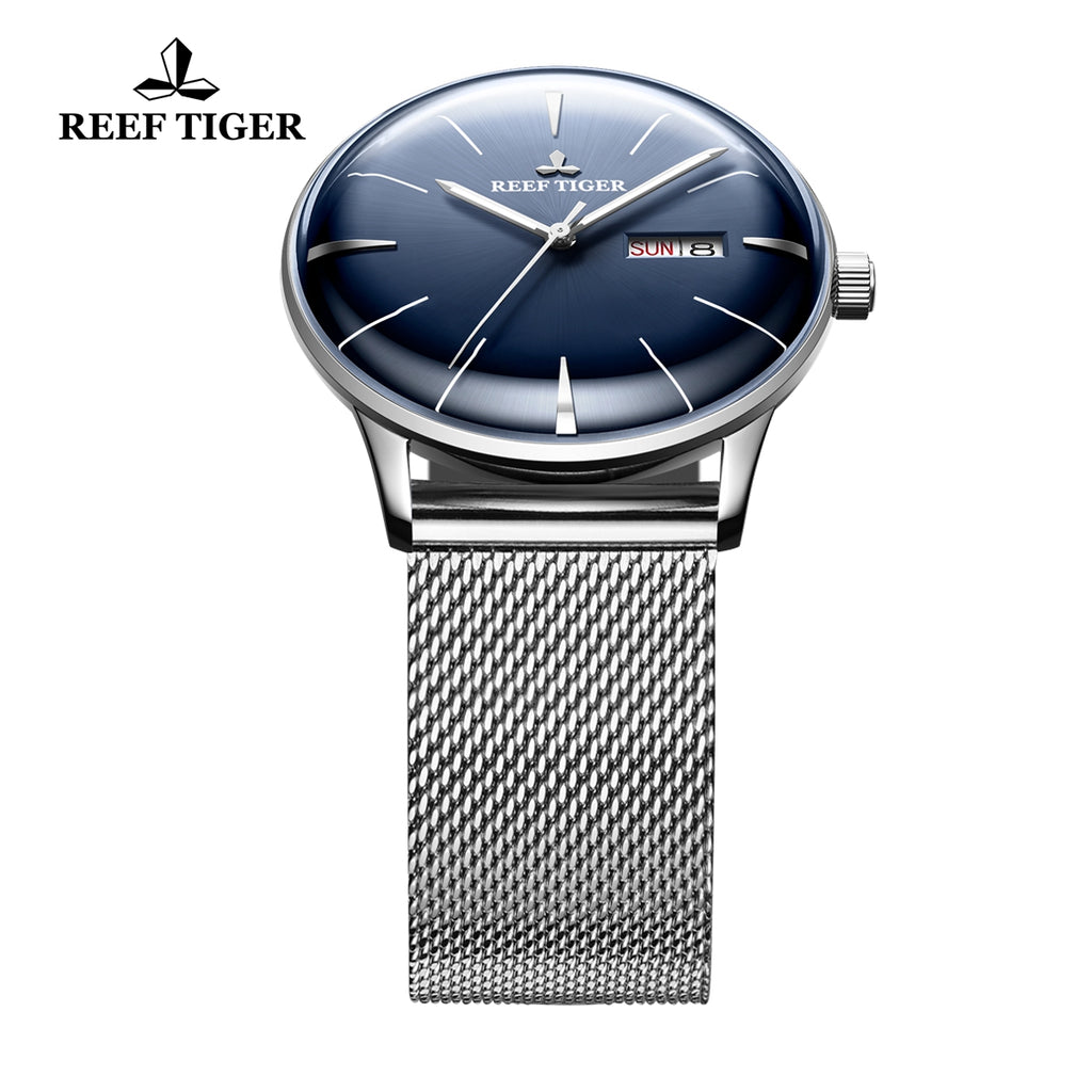 Reef Tiger Classic Heritor Mens Fashion Business Blue Dial Steel Watches RGA8238