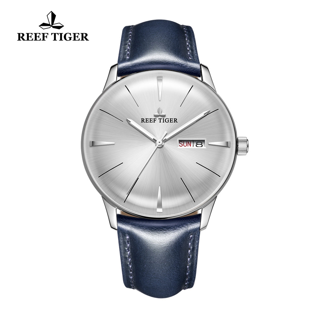 Reef Tiger Classic Heritor Mens Steel Fashion Business White Dial Leather Strap Watch RGA8238