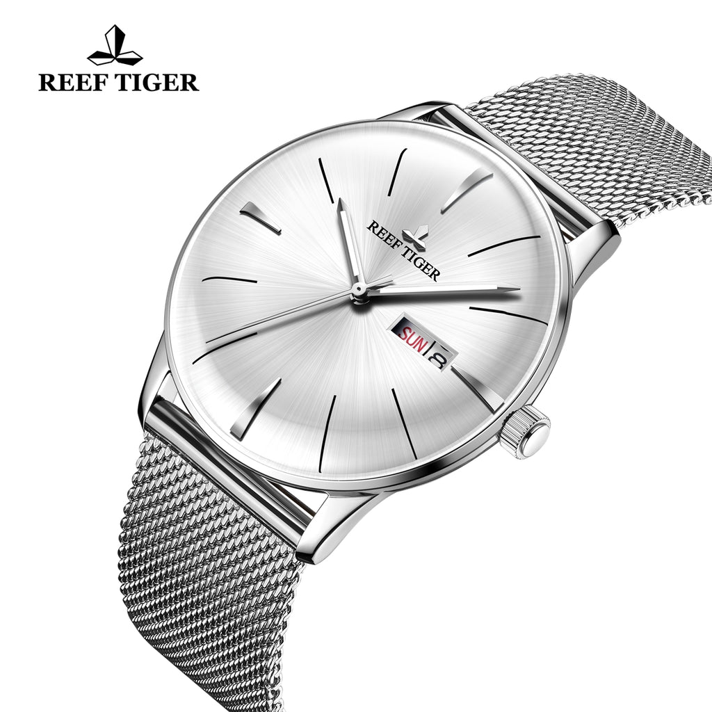 Reef Tiger Classic Heritor Fashion Business White Dial Steel Watches For Men RGA8238