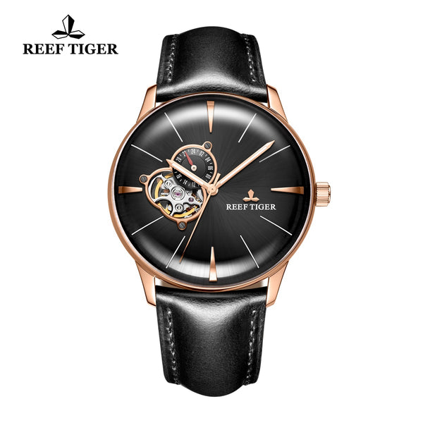 Reef Tiger Classic Glory Rose Gold Black Dial Business Mens Leather Strap Watch RGA8239