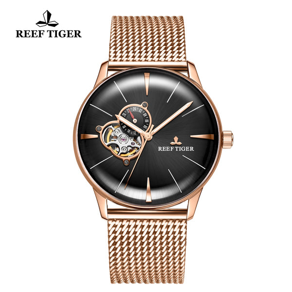 Reef Tiger Classic Glory Black Dial Business Mens Rose Gold Strap Watch RGA8239-PBP