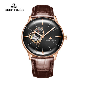 Reef Tiger Classic Glory Rose Gold Business Mens Black Dial Leather Strap Watch RGA8239