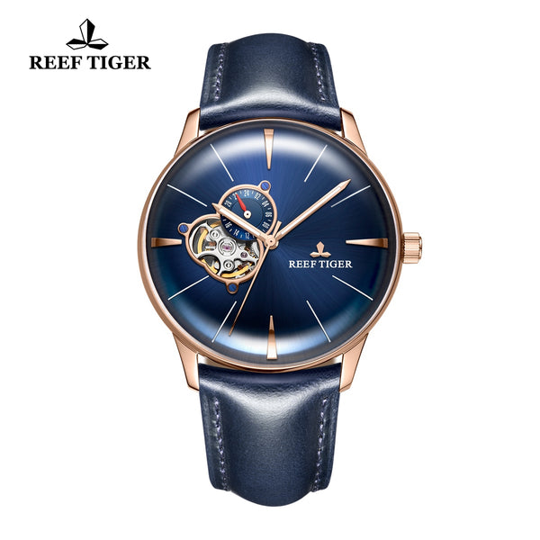 Reef Tiger Classic Glory Men's Luxury Rose Gold Blue Dial Business Leather Strap Watch RGA8239