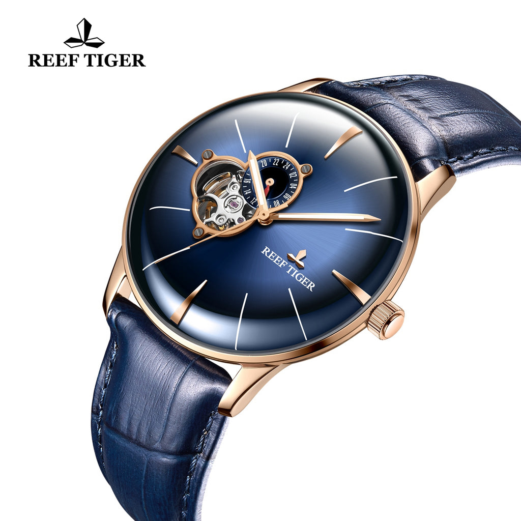 Reef Tiger Rose Gold Business Mens Blue Dial Leather Strap Watch RGA8239