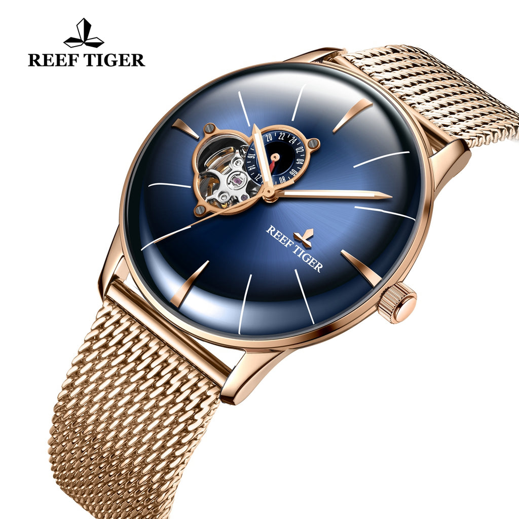 Reef Tiger Classic Glory Blue Dial Business Mens Rose Gold Strap Watch RGA8239-PLP