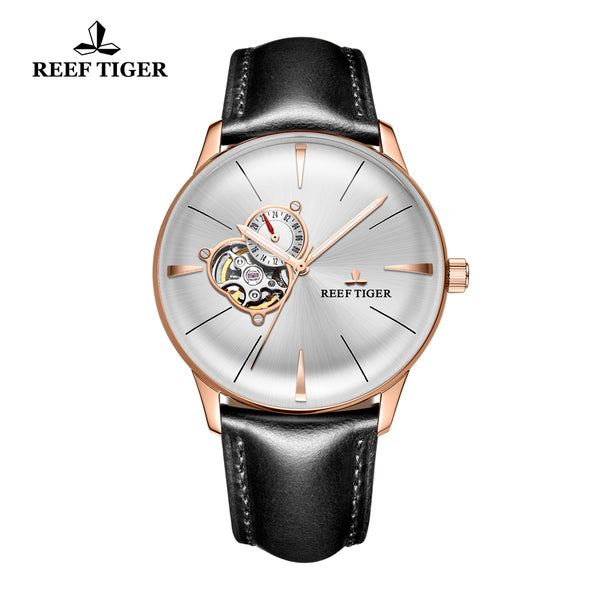 Reef Tiger Classic Glory Men's Luxury White Dial Rose Gold Business Leather Strap Watch RGA8239