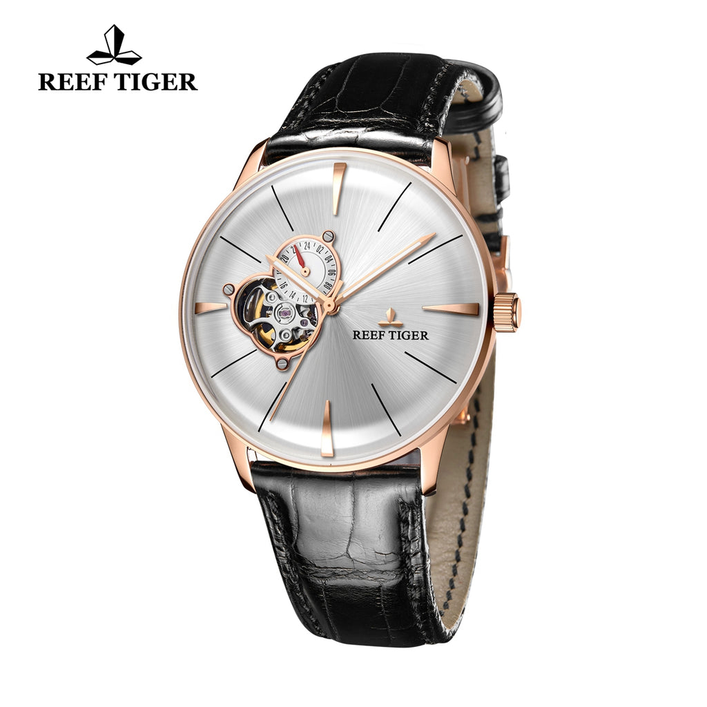 Reef Tiger Rose Gold Business Mens Steel White Dial Leather Strap Watch RGA8239