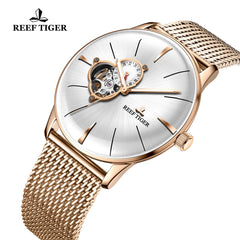 Reef Tiger Classic Glory White Dial Business Mens Rose Gold Strap Watch RGA8239-PWP