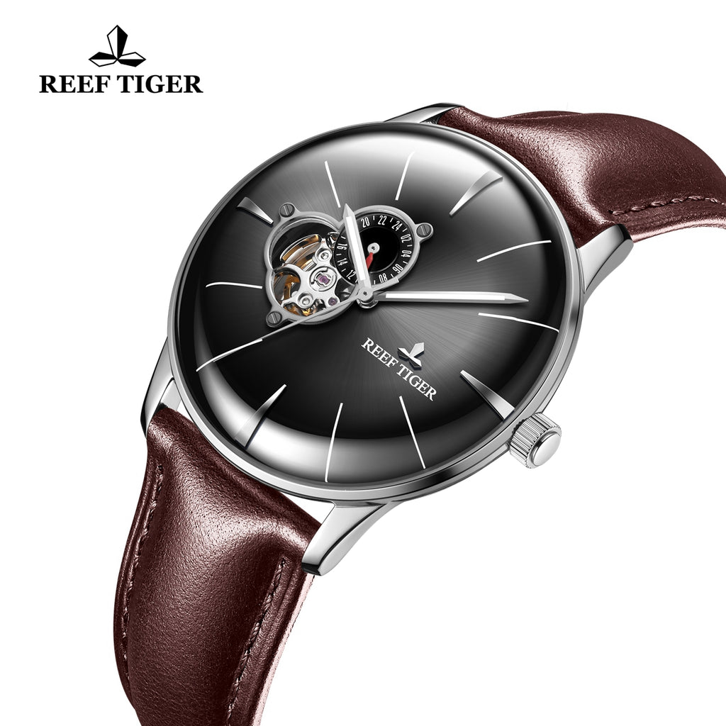 Reef Tiger Classic Glory Men's Business Black Dial Steel Leather Strap Watch RGA8239
