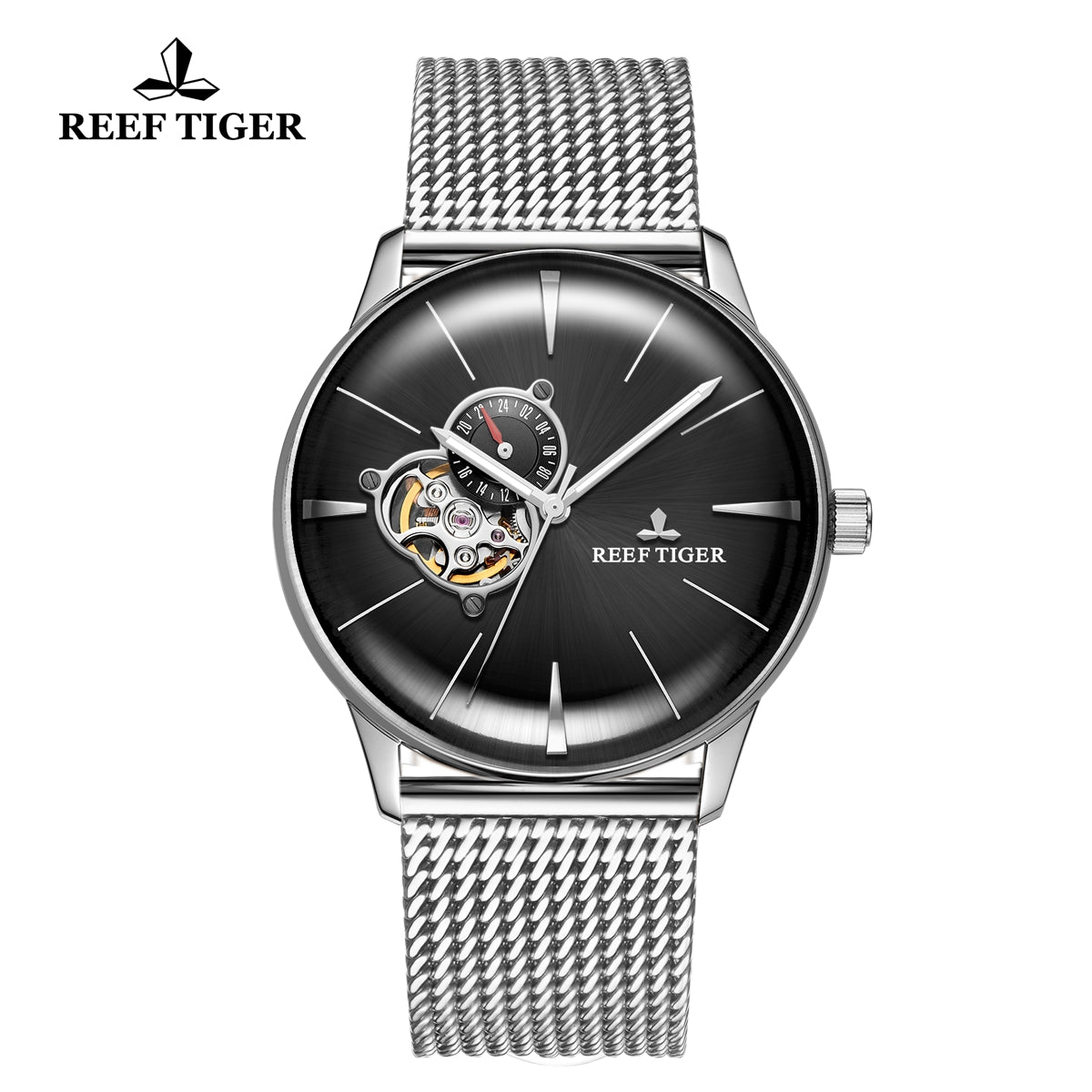 Reef Tiger Classic Glory Fashion Business Mens Black Dial Steel Strap Watch RGA8239-YBY