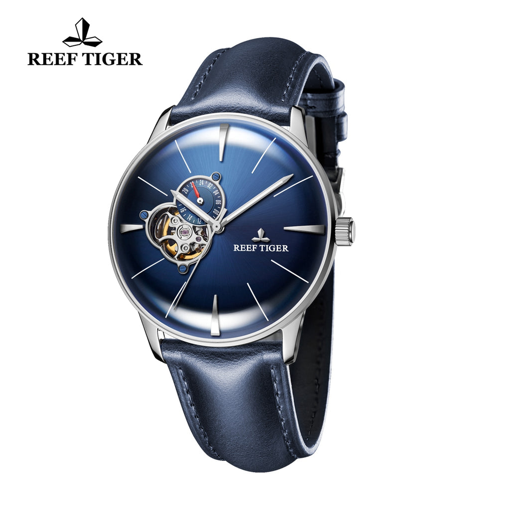 Reef Tiger Classic Glory Men's Casual Watches Business Blue Dial Steel Leather Strap Watch RGA8239