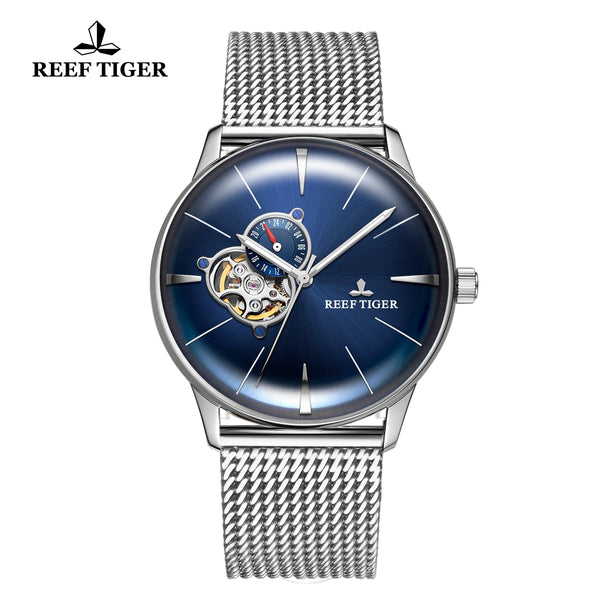 Reef Tiger Classic Glory Fashion Business Mens Blue Dial Steel Strap Watch RGA8239-YLY