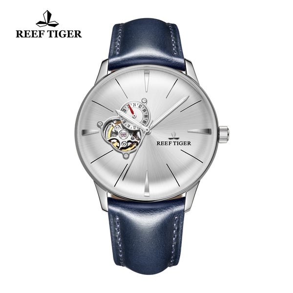 Reef Tiger Classic Glory Fashion Men's Steel Business White Dial Leather Strap Watch RGA8239