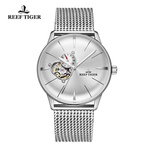 Reef Tiger Classic Glory Fashion Business Mens Black Dial Steel Strap Watch RGA8239-YWY