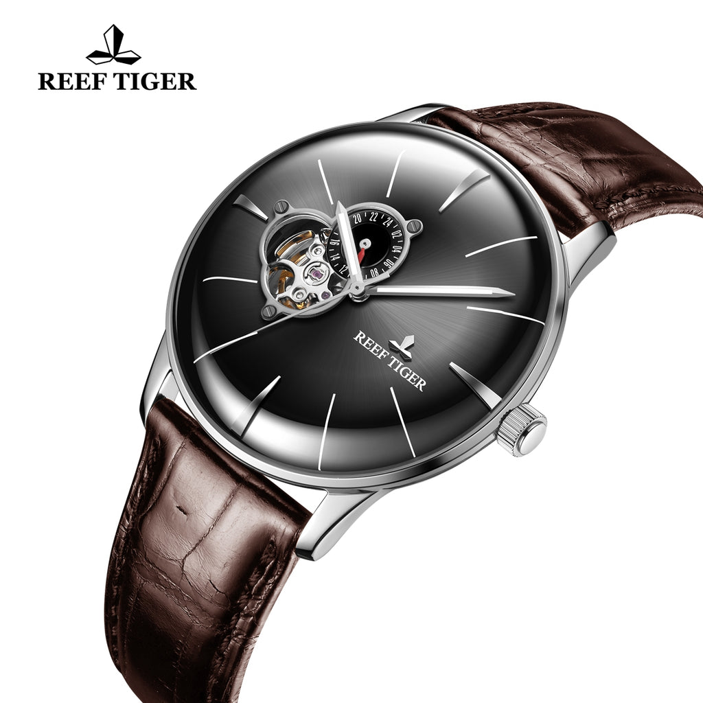 Reef Tiger Classic Glory Fashion Business Mens Steel Black Dial Leather Strap Watch RGA8239