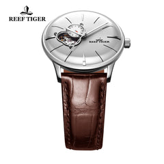 Reef Tiger Classic Glory Fashion Business Mens Steel White Dial Leather Strap Watch RGA8239