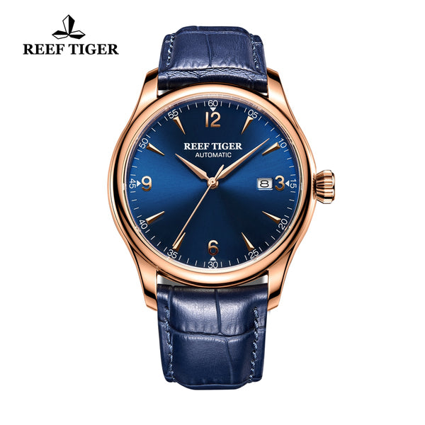 Reef Tiger Business Rose Gold Blue Dial Calfskin Strap Watch RGA823G