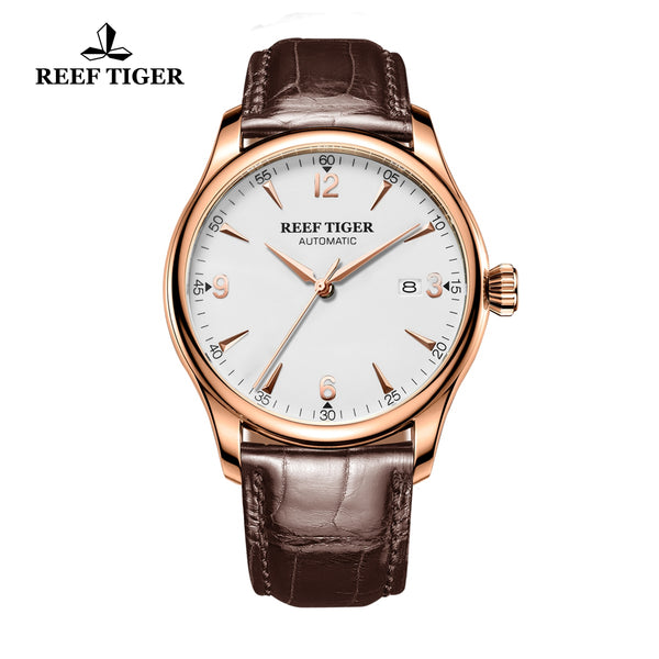 Reef Tiger Business Rose Gold Steel White Dial Alligator Strap Watch RGA823G