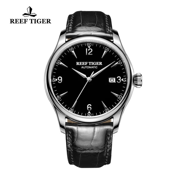 Reef Tiger Business Mens Steel Black Dial Calfskin Strap Watch with Date RGA823G